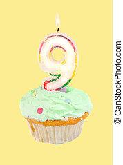 ninth birthday - ninth birthday cupcake with green frosting...