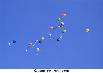 ninty nine balloon - many colourfool balloon on the blue sky