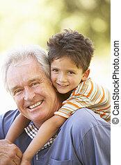 nipote, dare, cavalcata, parco, indietro, nonno