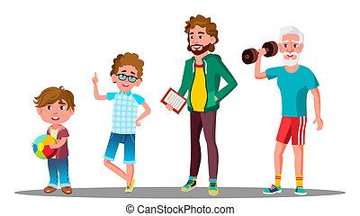 nipote, generazione, figlio, nonno, isolato, illustrazione, padre, maschio, caucasico