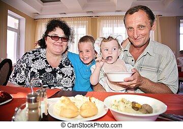 nipote, nipote, nonno, nonna, dietro, tavola