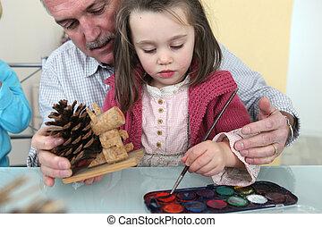 nipote, pittura, nonno