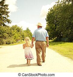 nipote, strada, nonno