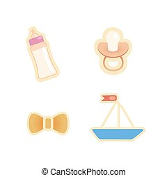 Nipple, bottle, bow and toy boat. Vector icons