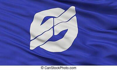 Nirasaki City Flag, Japan, Yamanashi Prefecture, Closeup ...