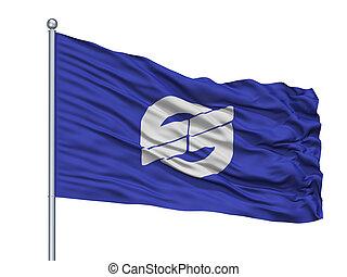 Nirasaki City Flag On Flagpole, Japan, Yamanashi Prefecture...