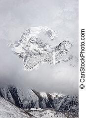 Nirekha mountain cloudscape, Everest region, Himalayas, Nepal