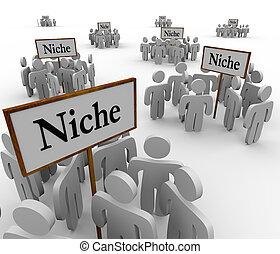 nischen, nische, ungefähr, leute, viele, gruppen, zeichen &...