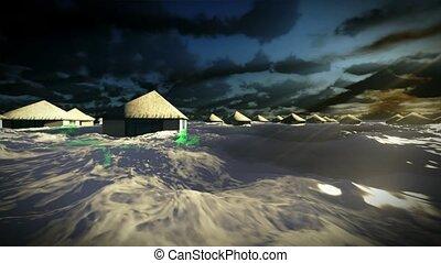 niszcząc, tropikalny, tsunami, uciekanie się