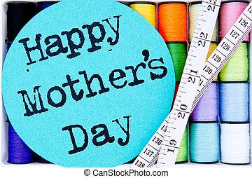 nitka, matczyny, szycie, -, ruletka, bawełna, dzień, szpule, szczęśliwy
