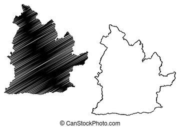 Nitra Region (Regions of Slovakia, Slovak Republic) map vector illustration, scribble sketch Nitra map