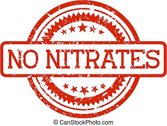 nitrates, no, sello de goma