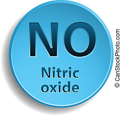 Nitric oxide - Blue button with nitric oxide. eps10