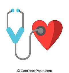 nitro, lékařský, stetoskop, znak