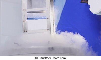 Nitrogen bank of stem cells slow motion - A Liquid Nitrogen...