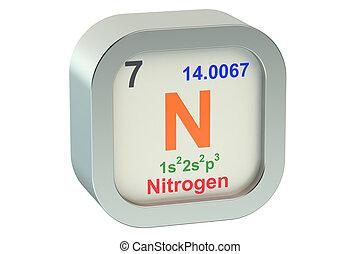 Nitrogen element isolated on white background