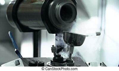 Anonymous lab worker pouring liquid nitrogen to freezer