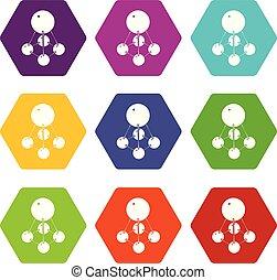 Nitromethane icons set 9 vector - Nitromethane icons 9 set...