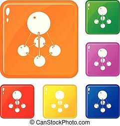 Nitromethane icons set vector color - Nitromethane icons set...
