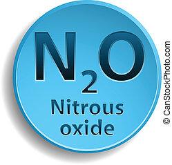 Nitrous oxide - Blue button with nitrous oxide. eps10