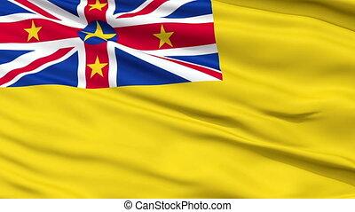 Niue City Close Up Waving Flag
