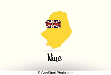 Niue country flag inside map contour design icon logo