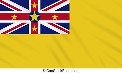 Niue flag waving cloth background, loop - Niue flag waving...
