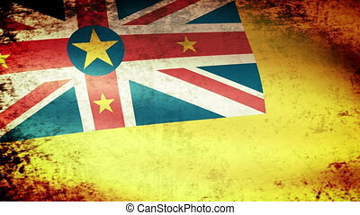 Niue Flag Waving, grunge look