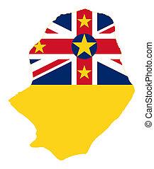Niue Island flag on map