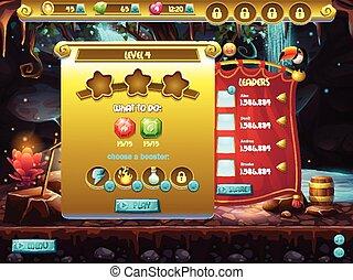 niveau, écran, jeu, -, passage, utilisateur ordinateur, interface, specify