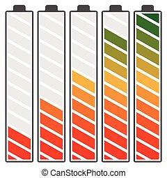 niveau, batterie, spectre, élevé, gradient, bas, indicateurs