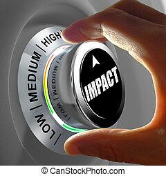niveau, choix, bouton, main, tourner, impact.
