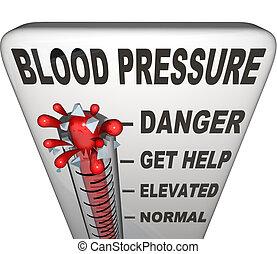 niveau, gevaarlijk, verheven, druk, hypertensie, bloed