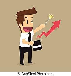 niveau, graphique, magique, flèche, homme affaires, plus haut