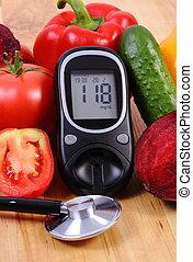niveau, groentes, meter, suiker, stethoscope, resultaat, opmeting, glucose