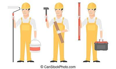 niveau, instrumenten, aannemer, vasthouden, hamer, rol