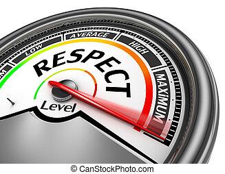 niveau, maximum, meter, aanwijzen, conceptueel, eerbied