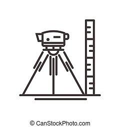 niveau, moderne, -, arpenteur, vecteur, conception, ligne, illustrative, icône