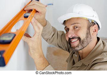 niveau, mur, constructeur, contre, uniforme, intérieur, tenue