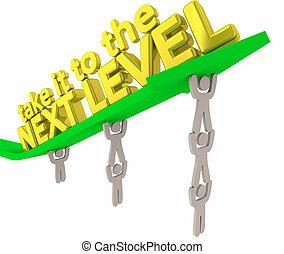 niveau, résultats, il, illustration, suivant, prendre, flèche, équipe, levage, 3d