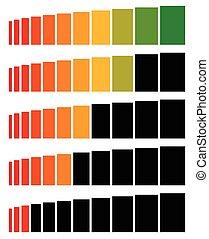 niveau, séquence, élevé, bas, progrès, indicateurs