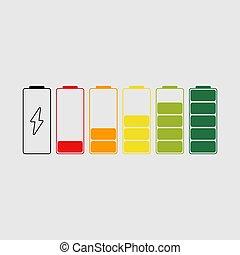 niveau, set., indicateur, puissance, élevé, icônes, batterie, bas, haut, statut, charge