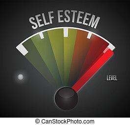 niveau, soi, mètre, élevé, estime, mesure, bas