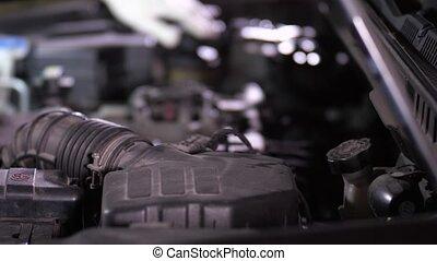 niveaux, main, caloporteur, réparateur, frein, vérification