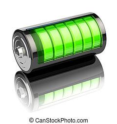 nivel, batería, aislado, indicadores, carga, white., ...