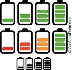 nivel, batería, bajo, ilustración, recargar, corriente,...