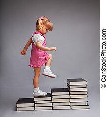 nivel, con éxito, uno, yendo, otro, educación