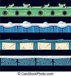 nivel, hielo, conjunto, platformer, piso, diseño, agua