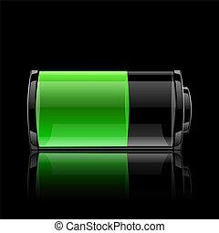 nivel, indicador, interfaz, batería, usuario, carga
