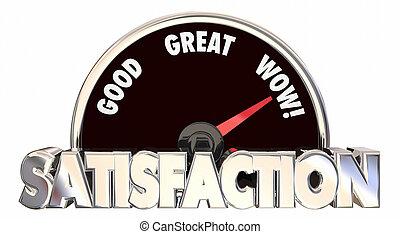 nivel, satisfacción, palabras, medida, placer, velocímetro, ...